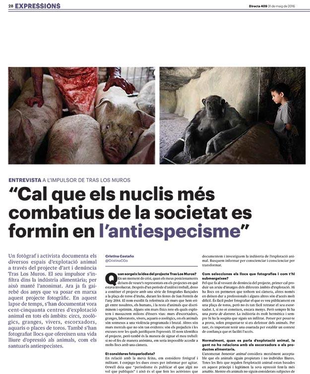 Entrevista la Directa a Tras los Muros sobre antiespecismo y Liberación Animal
